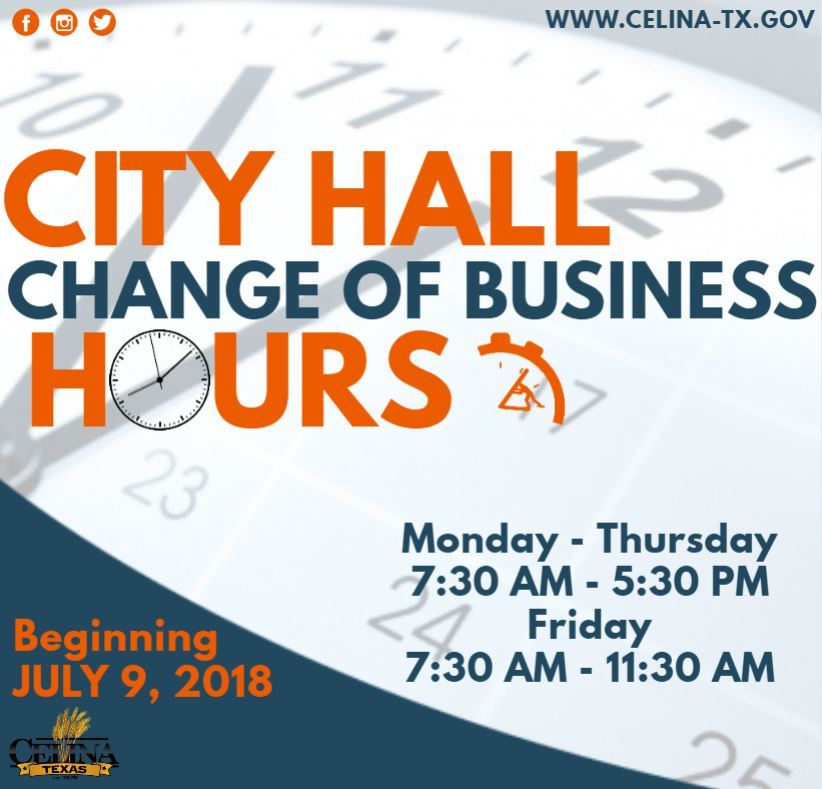 Change of business hours